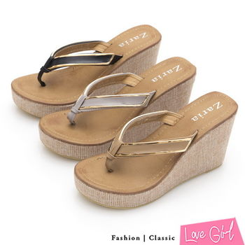 ☆Love Girl☆艷夏魅力金屬邊框夾腳楔型拖鞋