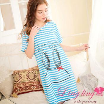 lingling日系 全尺碼-牛奶絲兔兔橫紋短袖連身裙睡衣(爽朗藍)A2855-01