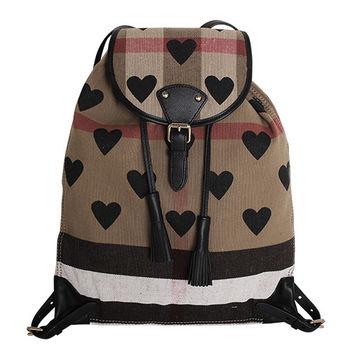 BURBERRY  CANVAS 心型印花格紋皮飾邊後背包(黑邊)