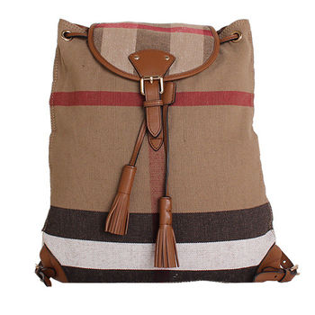 BURBERRY  CANVAS 格紋麻料皮革邊翻扣後背包(棕褐色)