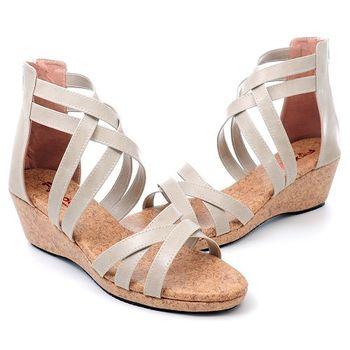 【 101大尺碼女鞋】 魅力線條羅馬楔型鞋.大尺碼系列♥黑色/米色/咖啡色♥635-01
