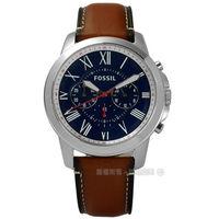 FOSSIL  FS5210  Grant 紳士復古羅馬三環計時真皮手錶 深藍x咖啡 44