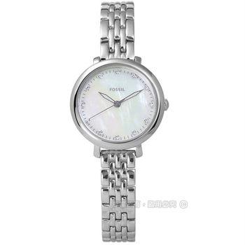 FOSSIL / ES4029 / Jacqueline 優雅浪漫珍珠母貝不鏽鋼手錶 銀色 26mm