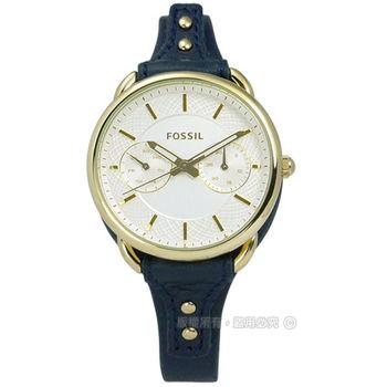 FOSSIL / ES4051 / 經典編織設計日期真皮女錶 銀黃x金框x深藍 34mm