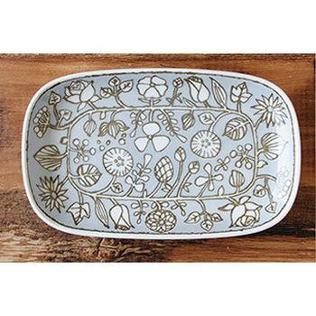 波佐見焼 花卉系列 長盤 / 日本製 淺藍底咖啡色花紋