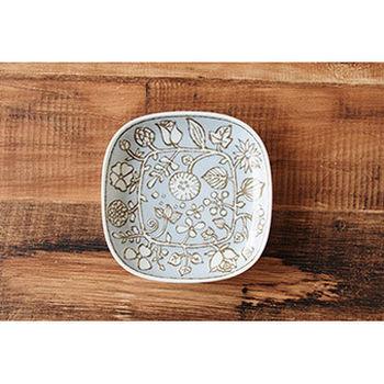 波佐見焼 花卉系列 小方盤 / 日本製 淺藍底咖啡色花紋