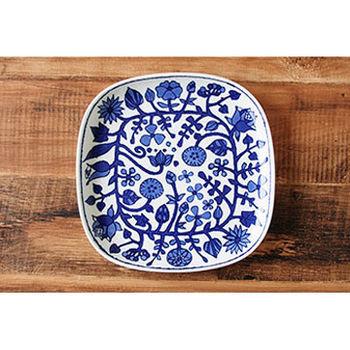 波佐見焼 花卉系列 大方盤 / 日本製 白底藍花