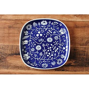 波佐見焼 花卉系列 大方盤 / 日本製 藍底白花