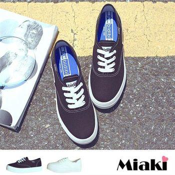 【Miaki】休閒鞋韓經典簡約綁帶厚底包鞋(黑色 / 白色)
