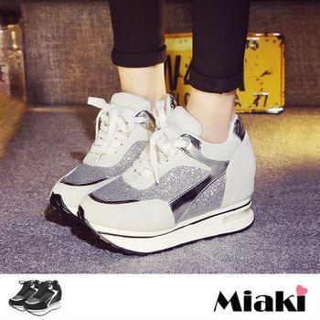 【Miaki】慢跑鞋韓時尚運動亮片綁帶厚底包鞋(黑色 / 白色)