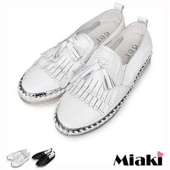 【Miaki】懶人鞋韓真皮草編流蘇平底包鞋(白色 / 黑色)