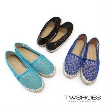 【TOMO】《韓國直送》蕾絲簍空手工草編平底包鞋【K230A2349】