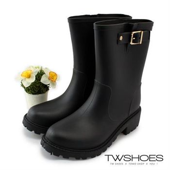 【TOMO】質感金屬釦環中筒雨靴【K168CE9022】