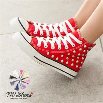 【TW Shoes】繽紛街頭潮流龐克鉚釘高筒帆布鞋【K124A1362】