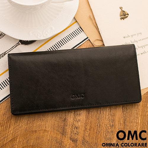 OMC - 韓系原皮魅力真皮款11卡1照長夾-黑