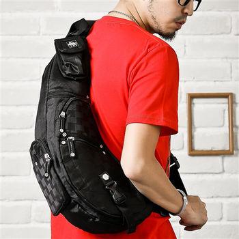 DF【Bag school】鐵馬族防水尼龍機能型多口袋側肩後背包