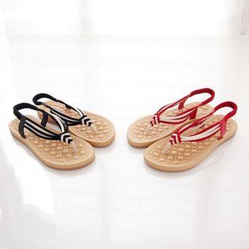 DOOK日式風格雙色編織夾腳涼鞋-2色