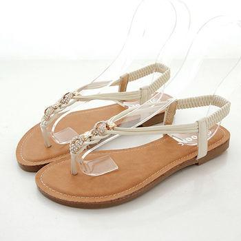 《DOOK》麻花編織水鑽夾腳平底涼鞋-米色