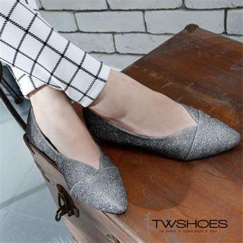 【TW Shoes】低調奢華尖頭金蔥鞋【K120B2496】