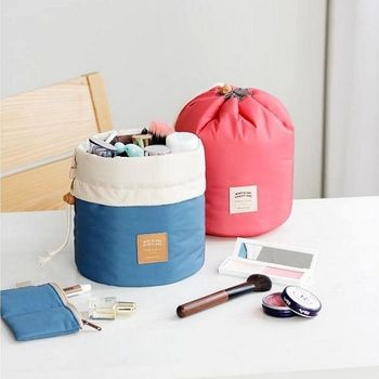 韓版防水圓筒收納包/化妝包/鹽洗包