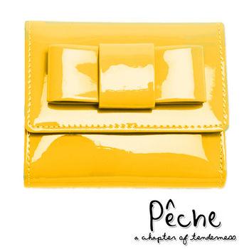 【Peche 杏桃】韓版全真牛皮馬卡龍蝴蝶結漆皮三折短夾錢包-糖果黃