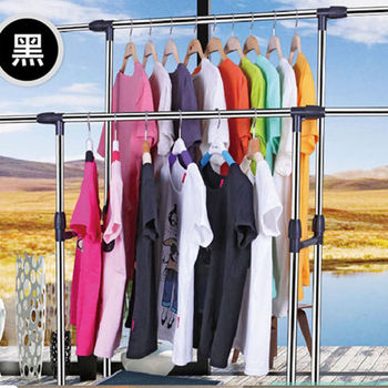 【買達人】移動式不鏽鋼雙桿伸縮晾曬衣架(贈傘型旋轉曬衣架)