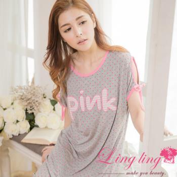 lingling日系 全尺碼-牛奶絲點點露肩綁結短袖連身裙睡衣(舒適灰)A2857-02