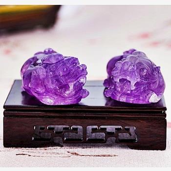 【SUMMER寶石】頂級天然紫水晶強力招財貔貅一對(手工雕刻-隨機出貨)