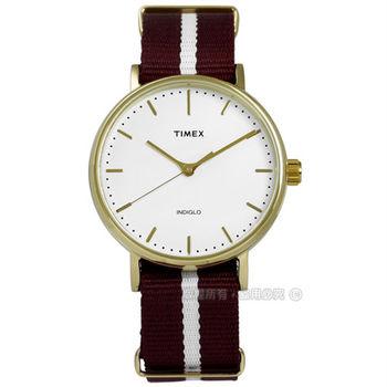 TIMEX 天美時/ TXT2P98100 / INDIGLO 美國指標生活簡約帆布手錶 白x金框x酒紅 36mm