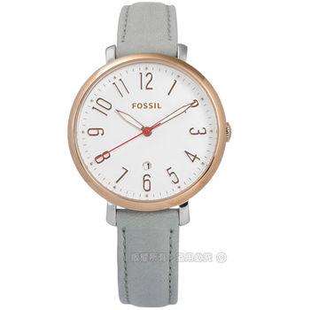 FOSSIL / ES4032 / Jacqueline 甜心女孩日期真皮手錶 白x玫瑰金框x灰 36mm