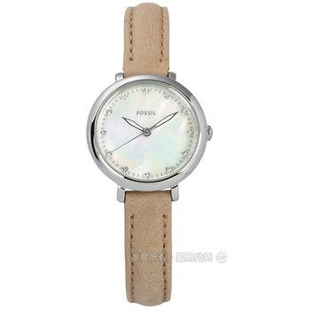 FOSSIL / ES4084 / Jacqueline 優雅浪漫珍珠母貝真皮手錶 銀x駝 26mm