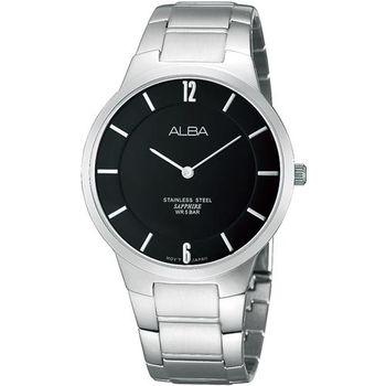 ALBA PRESTIGE 超薄美學時尚腕錶-黑/38mm VX50-X287D(ATAU75X)
