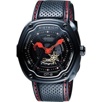 DIETRICH OT系列 生化機械鏤空腕錶-黑x紅指針/46mm OT-2