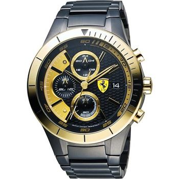 Scuderia Ferrari 法拉利 RedRev Evo 計時手錶-黑x金/46mm 0830303