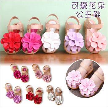 夏季女童軟底花朵淑女公主包頭平底涼鞋 露趾鞋