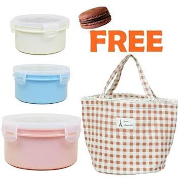 【親子馬卡龍】600ccx2+920ccx1 隔熱餐盒附便當袋 隨機/便當盒/保鮮盒(牛奶白/水藍+粉紅)