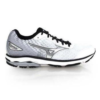 【MIZUNO】WAVE RIDER 19 男慢跑鞋-慢跑 路跑 美津濃 白銀