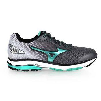 【MIZUNO】女慢跑鞋 WIDE WAVE RIDER 19-寬楦 深灰蘋果綠白