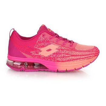 【LOTTO】女WAVEKNIT編織氣墊跑鞋-路跑 慢跑 紫粉橘
