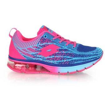 【LOTTO】女WAVEKNIT編織氣墊跑鞋-路跑 慢跑 藍螢光粉