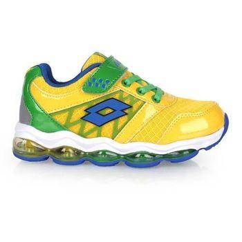 【LOTTO】男大童氣墊跑鞋 -男童 女童 童鞋 路跑 慢跑 黃綠