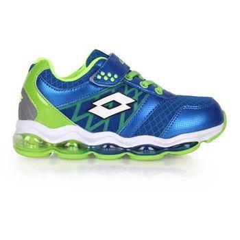 【LOTTO】男大童氣墊跑鞋 -男童 女童 童鞋 路跑 慢跑 藍螢光綠
