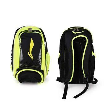 【LI-NING】羽球專用立體後背包 -雙肩包 羽毛球 李寧 螢光黃黑
