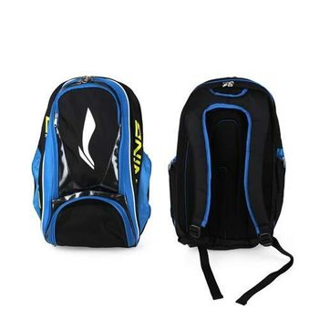 【LI-NING】羽球專用立體後背包 -雙肩包 羽毛球 李寧 藍黑