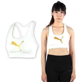 【PUMA】女大跳豹中衝擊運動內衣-慢跑 路跑 健身 運動背心 白金