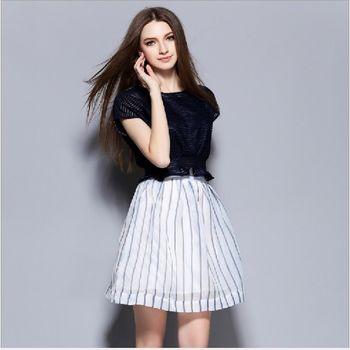 (現貨+預購 RN-girls) -歐美夏季高雅百搭上衣條紋拼接蓬蓬裙套装
