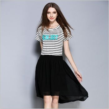 (現貨+預購 RN-girls)-歐美夏季新款條紋顯瘦T恤拼接雪紡連身裙