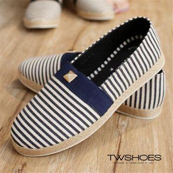【TOMO】鉚釘綴飾草編條紋懶人鞋【K160A2646】