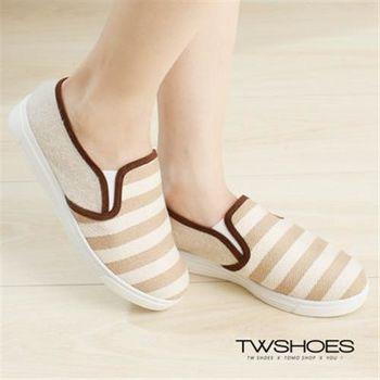 【TW Shoes】海軍條紋拼接平底懶人鞋【K120A2626】