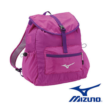【Mizuno 美津濃】   女用輕量防潑水 可收納式 背包 (紫紅) - D3TD670068